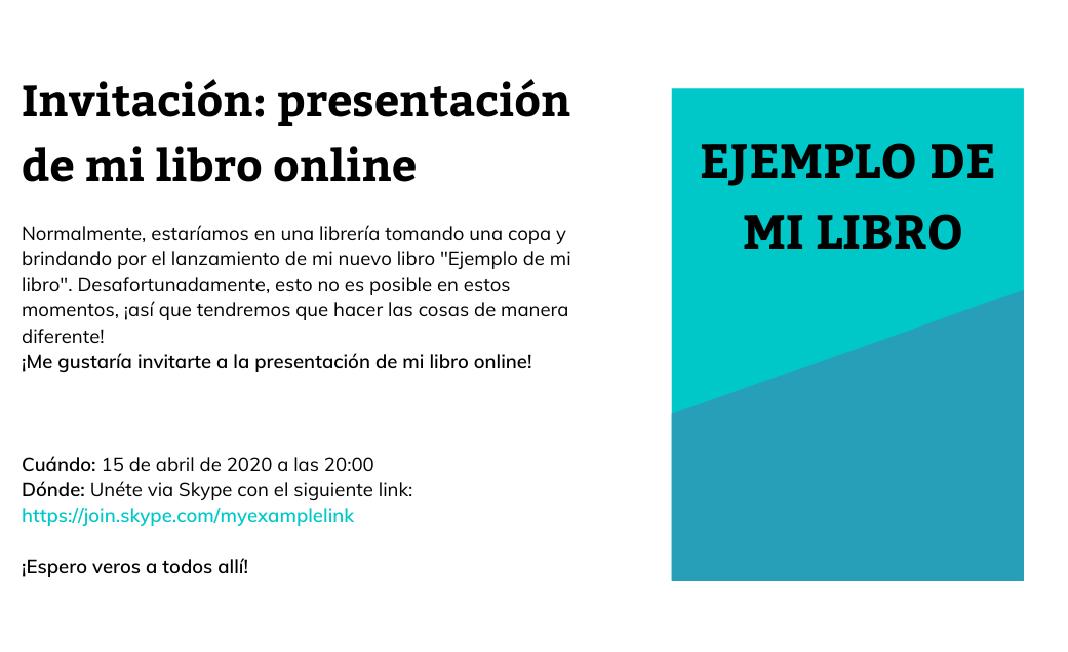 Invitación al evento de presentación de libros online